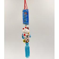 Maneki Neko lucky talisman - Blue