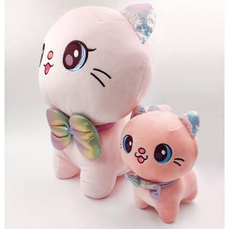 Kawaii rózsaszín plüss cica masnival - 45 cm