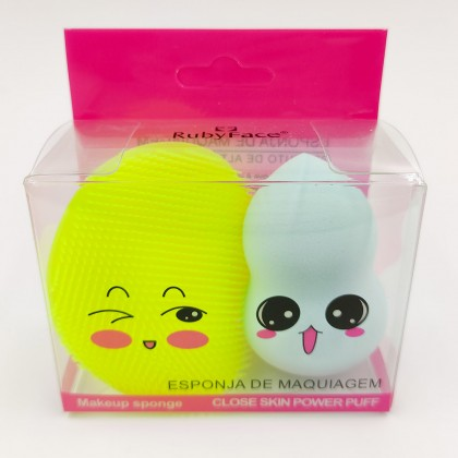 Cute Ruby Face make up sponge set (blue and pink)