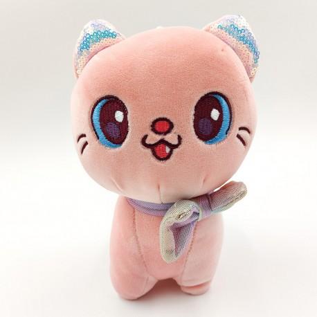 Kawaii pink cat plush pillow - 40 cm