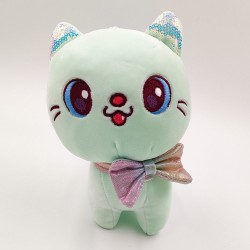 Kawaii green cat plush