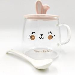 """Transparent Smile """"Sweet Rabbit"""" pink mug"""