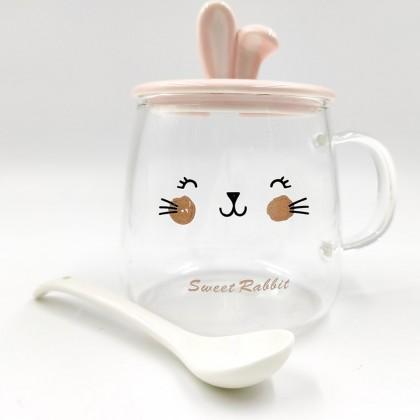 "Transparent ""Sweet Rabbit"" pink mug"