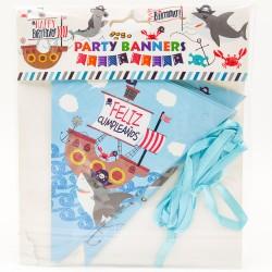 Happy Birthday Party zászlófüzér Feliz kalóz cápa