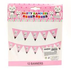 Happy Birthday Party zászlófüzér szemcsis cica