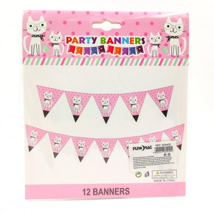 Happy Birthday Party banner cat with glasses