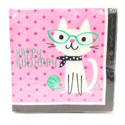 Happy birthday cat with glasses Paper towel