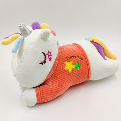 Kawaii yellow T-shirt unicorn plush pillow