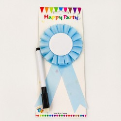 """Blue party badge """"You can write on it"""""""