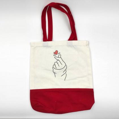 Finger Heart Canvas Bag