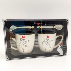"""Finger heart"" mug set"