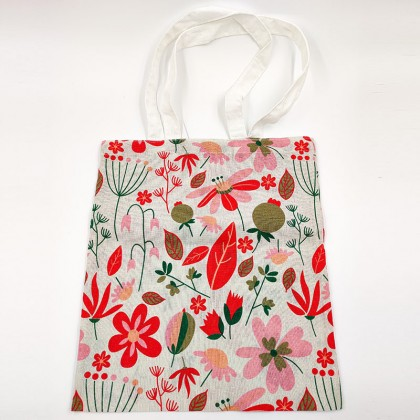 Grey, tree figured canvas bag