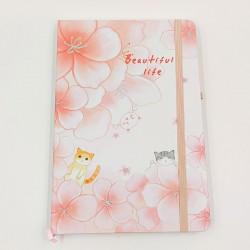 Beautiful Life Cat Notebook - Big flowers