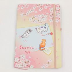 Beautiful Life Cat Notebook - White flowers