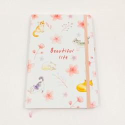 Beautiful Life cicás jegyzetfüzet - vegyes virágok