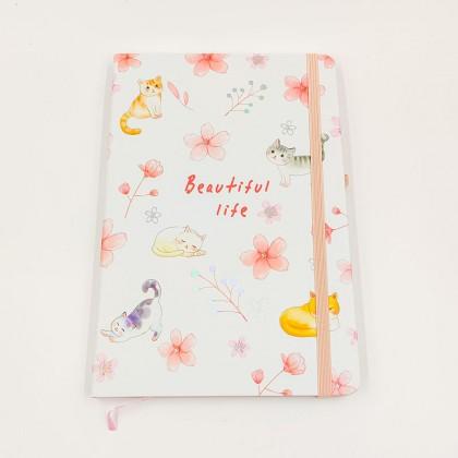 Beautiful Life Cat Notebook - Flowers