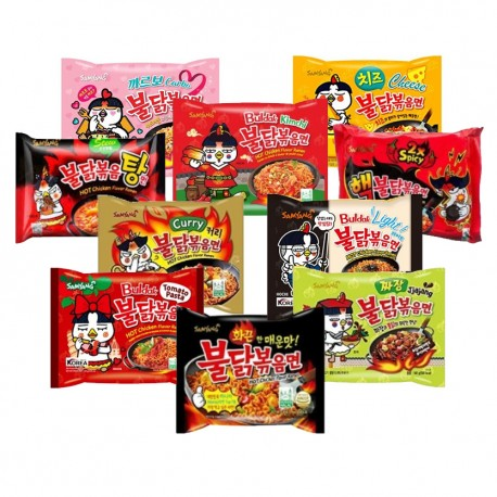All in One Samyang Spicy Chicken Roasted Noodles pack - 8 flavors