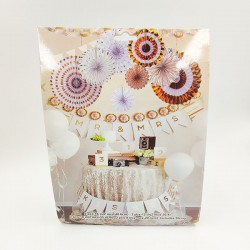Mr&Mrs Party Hanging Paper Fans Decoration Set